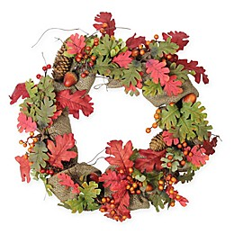 Northlight 18-Inch Artificial Harvest Acorn Berry & Burlap Wreath