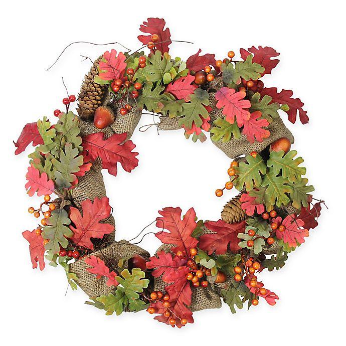Alternate image 1 for Northlight 18-Inch Artificial Harvest Acorn Berry & Burlap Wreath