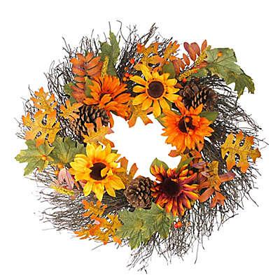 24-Inch Artificial Autumn Assortment & Sunflower Wreath