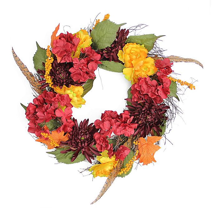 Alternate image 1 for Northlight 24-Inch Artificial Thanksgiving Peony, Mum & Feather Wreath