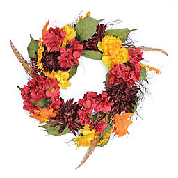 Northlight 24-Inch Artificial Thanksgiving Peony, Mum & Feather Wreath