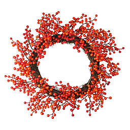 14-Inch Artificial Red and Orange Berry Decorative Wreath