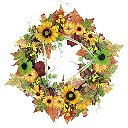 Northlight 24-Inch Artificial Flowers, Pine Cones & Pumpkin Wreath
