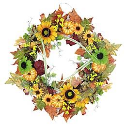 Northlight 24-Inch Artificial Flowers, Pine Cones & Pumpkin Wreath