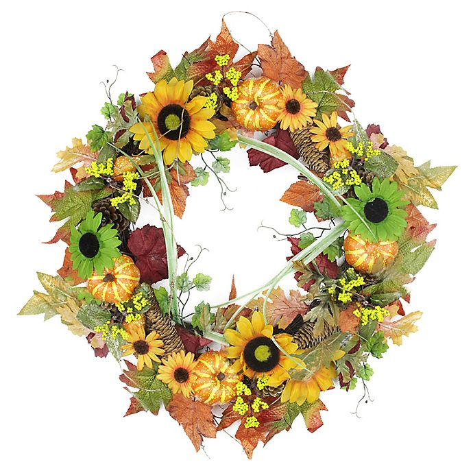Alternate image 1 for Northlight 24-Inch Artificial Flowers, Pine Cones & Pumpkin Wreath