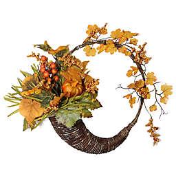 Pumpkins, Berries and Leaves 18-Inch Cornucopia Wreath