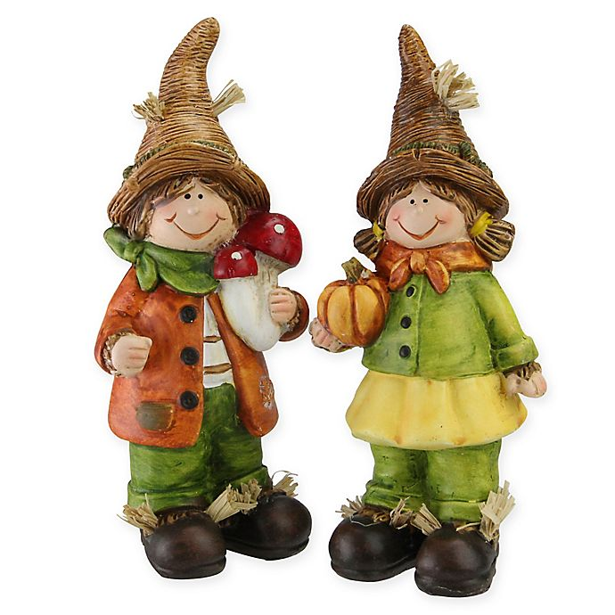 Alternate image 1 for Northlight Decorative Boy and Girl Scarecrow Figurines in Yellow (Set of 2)