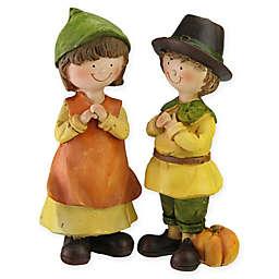 Northlight Decorative Boy and Girl Pilgrim Thanksgiving Figurines in Orange (Set of 2)