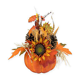 Northlight 10-Inch Artificial Pumpkin with Leaves and Pine Cones