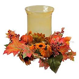 Northlight Sunflower and Pumpkin Thanksgiving Candle Holder in Orange