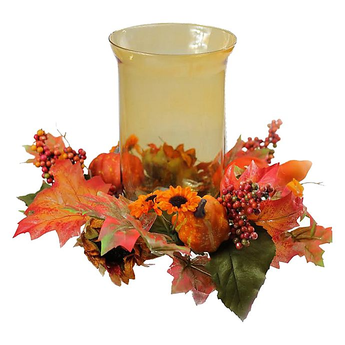Alternate image 1 for Northlight Sunflower and Pumpkin Thanksgiving Candle Holder in Orange