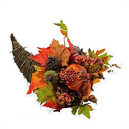 Northlight 16-Inch Artificial Pumpkin and Maple Leaf Grapevine Cornucopia in Orange