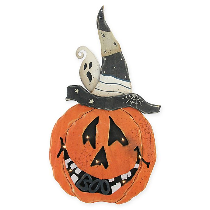 Alternate image 1 for Standing Wood Pumpkin in Black with Clear LED Lights