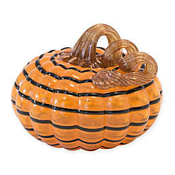 Boston International Striped Glass Pumpkin in Orange/Black