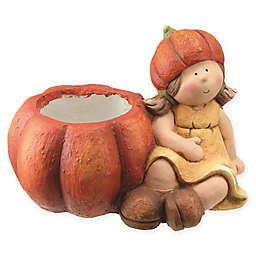 Seated Harvest Girl with Pumpkin Pot Figurine