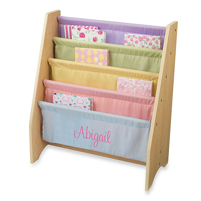KidKraftR Personalized Girls Sling Bookcase In Pastel With Pink Lettering