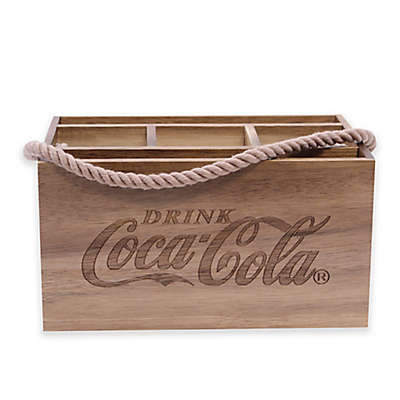 Coca-Cola® Wood Caddy with Rope Handle in Brown