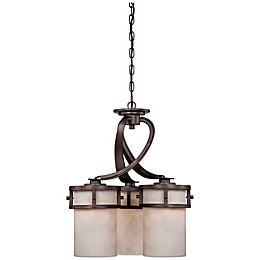Quoziel Kyle 3-Light Chandelier in Imperial Bronze with Onyx Shades
