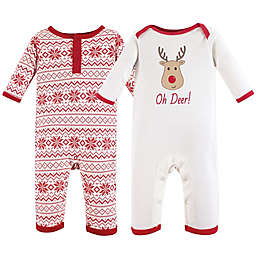 Hudson Baby® 2-Pack Reindeer and Snowflakes Coveralls in Red