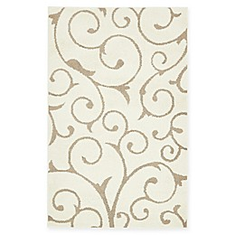 Unique Loom Carved Floral Power-Loomed Rug in Ivory