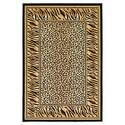 Unique Loom Cheetah Wildlife 6' x 9' Power-Loomed Area Rug in Light Brown