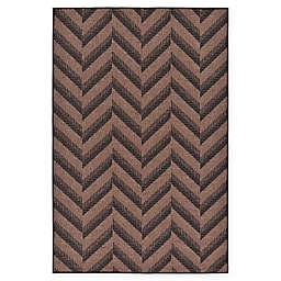 Unique Loom Chevron Indoor/Outdoor Rug in Brown