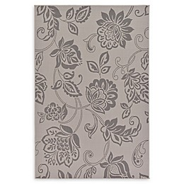 Floral Indoor/Outdoor Area Rug in Grey