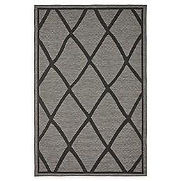 Unique Loom Diamonds Loomed Indoor/Outdoor Area Rug in Grey