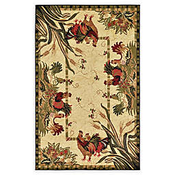 Unique Loom Rooster Rug in Cream