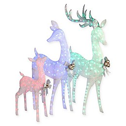 National Tree Company Deer Family LED Holiday Yard Decor in Multi (Set of 3)