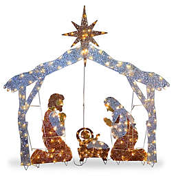 National Tree Company® 51.5-Inch Lighted Nativity Set Yard Decor