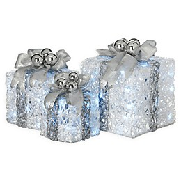 National Tree Company® 3-Piece LED Illuminated Gift Boxes Lawn Ornament Set in White/Silver