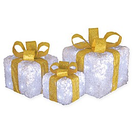 National Tree Company® 10-Inch Acrylic LED Gift Box Set in White/Gold (Set of 3)
