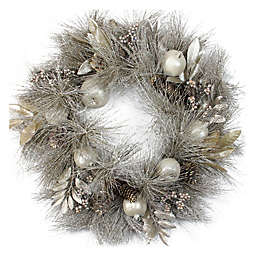 Northlight 24-Inch Apples and Pinecone Wreath in Gold