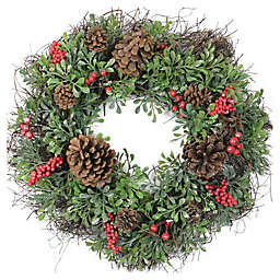 24-Inch Glitter Boxwood Artificial Christmas Wreath