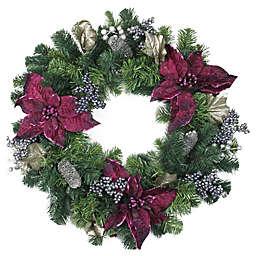 24-Inch 2-Tone Poinsettia Artifical Christmas Wreath