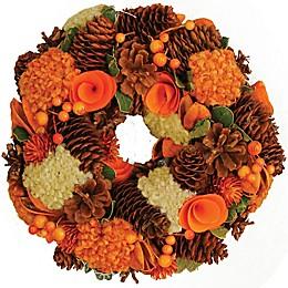 10-Inch Hydrangea Artificial Harvest Wreath in Orange