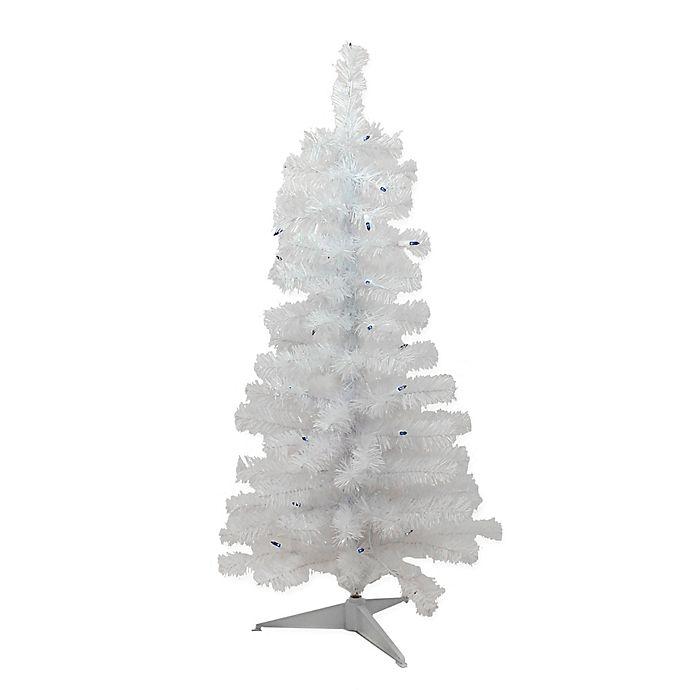 3-Foot Pre-Lit Snowy White Slim Artificial Christmas Tree ...