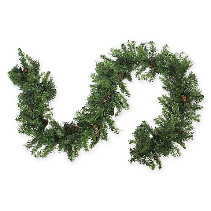108 Inch Dakota Red Pine Artificial Garland In Green Bed