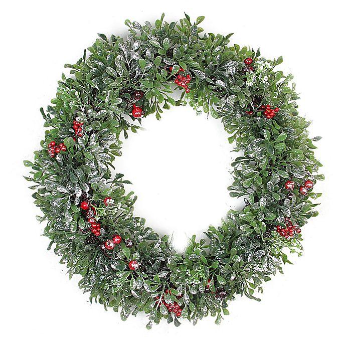 20 Inch Boxwood Artificial Christmas Wreath Bed Bath