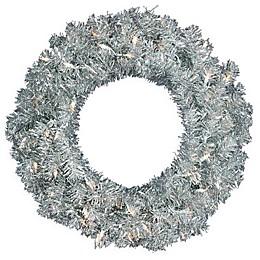Vickerman 30-Inch Pre-Lit Sparkling Tinsel Wreath in Silver