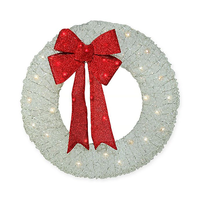 Alternate image 1 for 36-Inch Holographic Glitter LED Pre-Lit Artificial Christmas Wreath