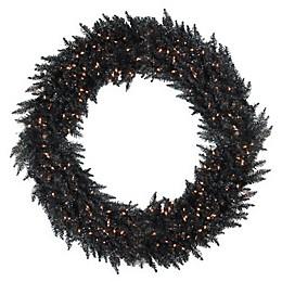 Vickerman 72-Inch Pre-Lit Ashley Spruce Wreath in Black