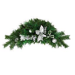 Northlight 30-Inch Poinsettia, Pine Cone & Ornament Swag