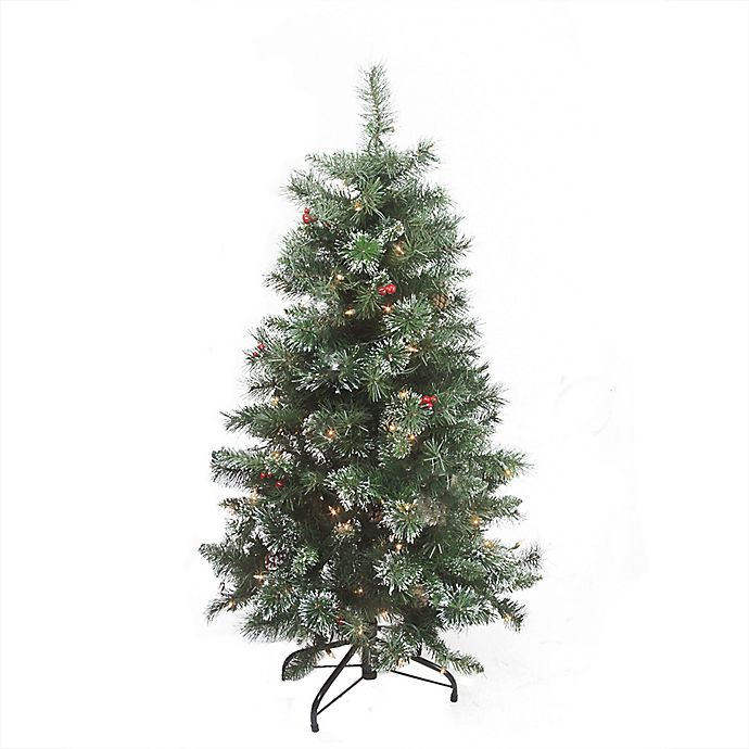 Alternate image 1 for 4-Foot Pre-Lit Flocked Frost Artificial Christmas Tree with Clear Lights