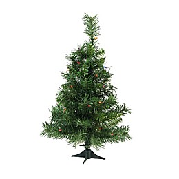 2-Foot Pre-Lit Royal Pine Artificial Christmas Tree with Multicolor Lights