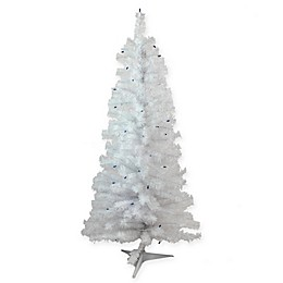 4-Foot White Pine Artificial Christmas Tree with Blue Lights