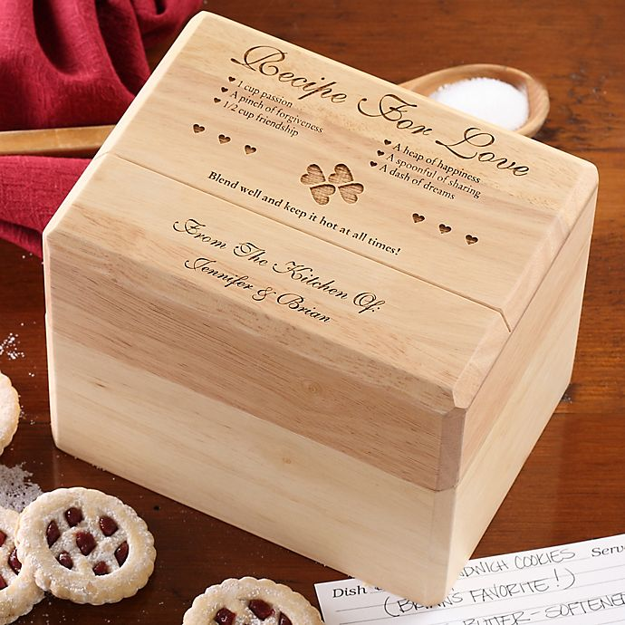 Alternate image 1 for Recipe for Love Wood Recipe Box