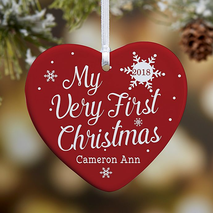 Alternate image 1 for My Very First Christmas 1-Sided Glossy Personalized Heart Ornament