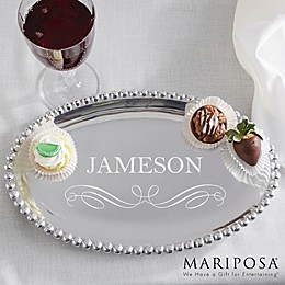 Mariposa® String of Pearls Personalized Oval Tray